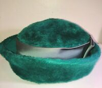 VTG 50'S-60'S SONNI CA*LOVELY!! GREEN FELTED WOOL ROUND BRETON BOW BANDED HAT