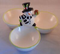 "SNOWMAN 3 Bowl Christmas Serving Dish, 8"", by K&K Interiors"