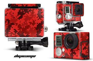 Skin Stickers for GoPro Hero 3+ Camera & Case Decal HERO3+ Go Pro DIGICAMO RED
