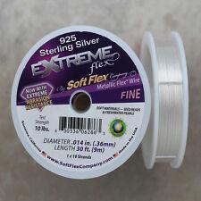Soft Flex Sterling Silver Fine Beading Wire, 30 Foot Spool