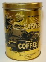 Rare Old Vintage 1930s VOLCANO GRAPHIC CASWELL KONA COFFEE TIN 2 1/2 POUND CAN