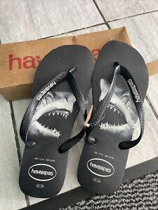 Mens Havaianas Brasil Logo Flip Flops Black Shark Sandals Size UK 9-10