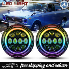 "For Toyota Corolla 1969-1980 Color Change RGB 7"" LED Halo Headlights Angel Eyes"