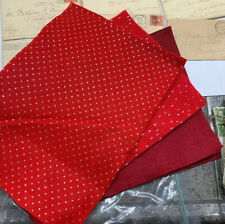 "Vtg 60s Felt Flannel 9""x11"" Sheets Fabric 2-Red W/gold 2-Red W/silver 4-Burgundy"