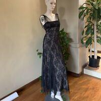 BCBG MaxAzria Womens Size 4 Black Lace Sleeveless Ariel Formal Prom Gown Dress