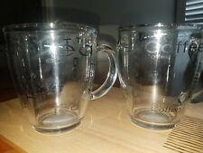 ACCENT COFFEE & TEA CLEAR GLASS MUGS SET OF 6 (NEW)