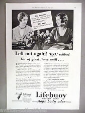 Lifebuoy Soap PRINT AD - 1931 ~~ B.O. (Body Odor) Robbed Her of Good Times
