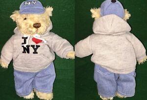 "HERRINGTON TEDDY BEARS 2001 I LOVE NEW YORK 10"" TEDDY Plush NYC Hoodie & Hat"