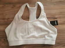 NWT Adidas Women's White Crystal Logo  Bra New size L Large Cross back