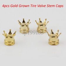 4x Gold Crown Car Truck Motorcycle Bicycle Wheel Tire Valve Stem Dust Caps