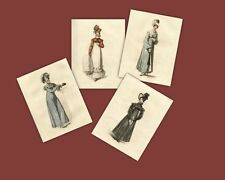 Regency Print Collection Walking Dresses Jane Austen Style Fashion Ackermann