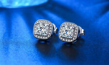 White Gold Plated Square Crystal Small Stud Earring Wedding Bridal Gift E27
