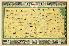 Pictorial map of Kansas American Association of University Women Wall Art Poster