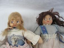 """2 Lot - vintage 14"""" Cloth Made Dolls with Flocked Faces, Dutch German Dress"""