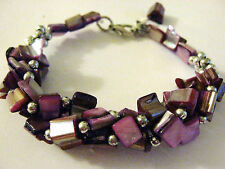 Purple Real shell silver tone beaded twister cluster Bracelet Fair Trade New