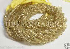 """Full 13"""" strand LEMON SMOKY QUARTZ faceted gem stone rondelle beads 4mm"""