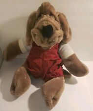 GANZ vintage WRINKLES plush puppy dog stuffed animal toy puppet 1980s overalls