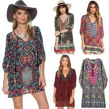 3/4 Sleeve Casual Geometric Regular Size Dresses for Women