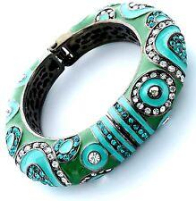 Crystal Hematite Enamel Persian Princess Green Turquoise Hinged Cuff Bracelet
