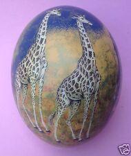 Handgefertigt: Straußenei Afrika Wildlife Großwild Tiere Giraffe Elefant Leopard
