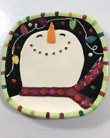 "Snowman GIBSON 6"" Square Dessert Tea Salad Plates Christmas Cookies Holiday"