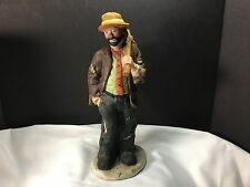 "Emmett Kelly Jr Flambro Clown Figurine ""Hobo"" Knapsack On Stick Hand In Pocket"