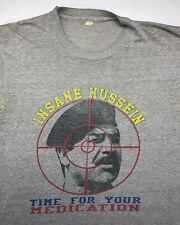 Vintage Mens L 90s Insane Hussein Saddam Gulf War Crosshairs Funny Gray T-Shirt