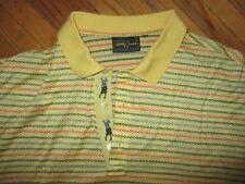 vtg 70s 80s Bobby Jones Brand Golf Polo Shirt Yellow Embroidered Golfer Large