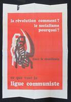 Affiche LA RÉVOLUTION COMMENT ? Ligue Communiste Krivine 1968
