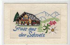 More details for gruss aus der schweiz: embroidered silk postcard (c15795)