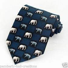 Rhinos & Elephants Mens Necktie Blue Animal Neck Tie Rhinocerous Nature Gift New