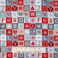 Christmas Fabric - Joy Love Peace Red Gray Holiday Blocks - Studio E YARD