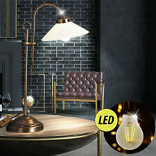 LED Side Light Glass Table Vintage Retro Office Reading Standing Lamp Old Brass
