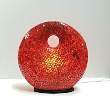"""Lamp Red Mosaic Glass Bali 12"""" Donut Shape by Hand Made Unique ZENDA IMPORTS"""