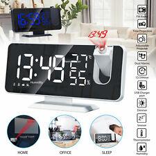 7.2inch Fm Radio Digital Led Projection Alarm Clock Snooze Usb Charging Bedside
