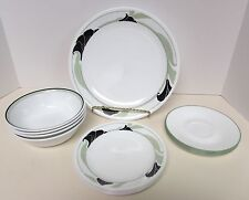 16pc CORELLE BLACK ORCHID 4 ea DINNER PLATES-BB PLATES-CEREAL BOWL-SAUCER