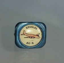 Rare Vintage 1940's Douglas DC-6 Plane Plastic Kids Ring Blue Pink WW2 Girls