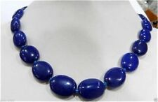 "13x18mm Sapphire Blue Jade Flat Oval Beads Gemstone Necklace 18""AAA+"
