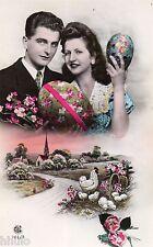 BK488 Carte Photo vintage card RPPC couple fantaisie fête de pâques poule oeuf