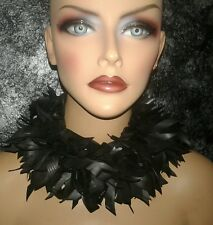 Rubber Feather Haute Couture Statement Necklace Choker Upcycled Fetish Gothic