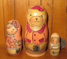 Russian nesting dolls Maryoshka CUTE TEDDY BEAR Family 3 SMALL Aksyonova GIFT