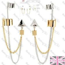 H&M EARRINGS earcuffs EAR CUFF PAIR gold/silver tone GEOMETRIC gothic chain GOTH