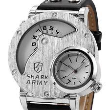 Shark Mens Army White Oversized Dual Time Zone Military Quartz Sport Wrist Watch