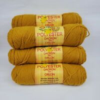 Vtg Polyanna Yarn Lot of 6 Skeins 1010 Gold 4 Ply, 4 Ounce Orlon Dacron Worsted