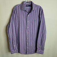 Ralph Lauren Polo Mens Size Large Button Front Long Sleeve Purple Shirt - X315