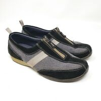 LANDS END Loafers Black Gray Slip On Zip Up Comfort Shoes Womens Size 8 GUC
