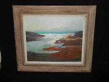 Oil Painting on Canvas Waves Rocky Shore Signed Ora Nestor Exc Carved Frame