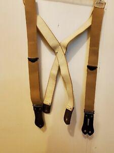 CC Filson Bridle Leather Tab Suspenders Beige adjustable fit
