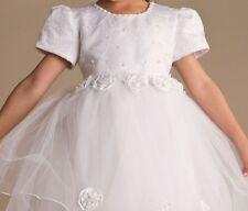 SAF Baby Girl White/Ivory Flowergirl Christening Wedding Bridesmaid Flower Dress
