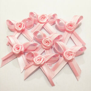 Small Satin Ribbon Baby Bows with Rose Applique Decoration Gift Craft Cardmaking